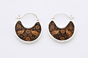 gourd silver disk earrings
